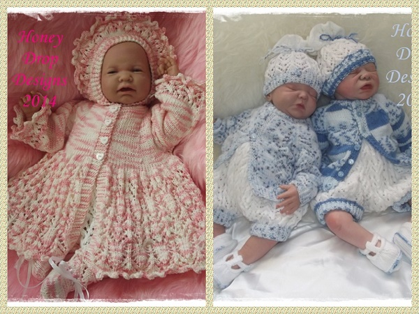 Huckleberry/Blossom Combo (2 Patterns)-huckleberry,blossom,romper,cardigan,hat,shoes,dress,matinee,jacket,bonnet,booties