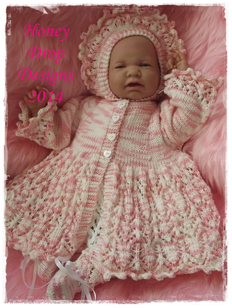 Blossom-romper,matinee,jacket,shoes,hat,4ply,dk,honey,drop,designs,reborn,baby,newborn,knitting,ecperienced,