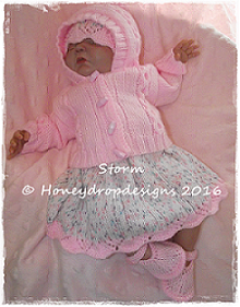 STORM (4 Sizes)-dress, jacket, baby, doll, honeydropdesigns, reborn, designer, knitting, pattern