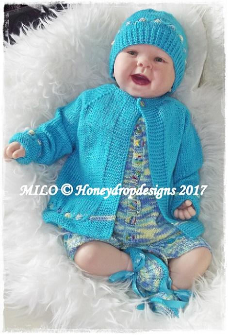 MILO-baby, reborn, cardigan, romper, hats,