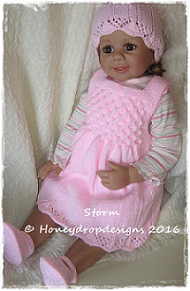 *NEW DESIGNS* STORM (4 Sizes)-dress, jacket, baby, doll, honeydropdesigns, reborn, designer, knitting, pattern