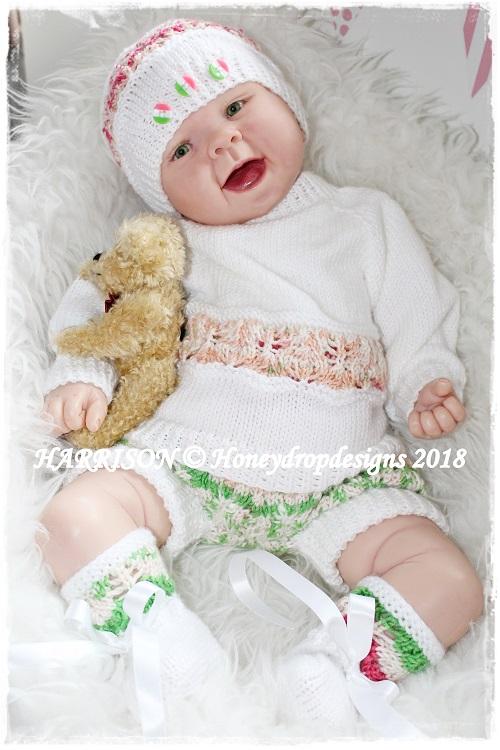 HARRISON-baby, knitting, harrison, honey, drop, designs, reborn, jumper, booties,