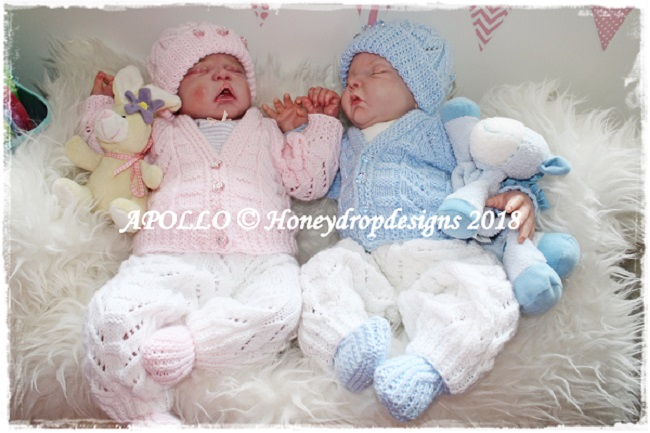 APOLLO-baby, reborn, knitting, cardigan, hat, booties, trousers, new baby, patterns, honey, drop, designs,
